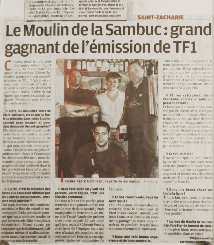 La Presse - Le moulin de la Sambuc - Restaurant Saint-Zacharie